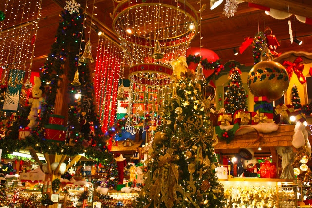 Bronner's Christmas ornament bonanza in Frankenmuth, Michigan. It's open 361 days a year, so this is do-able.