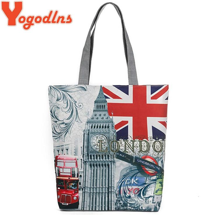 Yogodlns European Style Female Canvas Shoulder Bag Tower Printed Zipper Bags For Shopping Bag Casual Women Canvas Beach Bags-in Shoulder Bags from Luggage & Bags on Aliexpress.com | Alibaba Group
