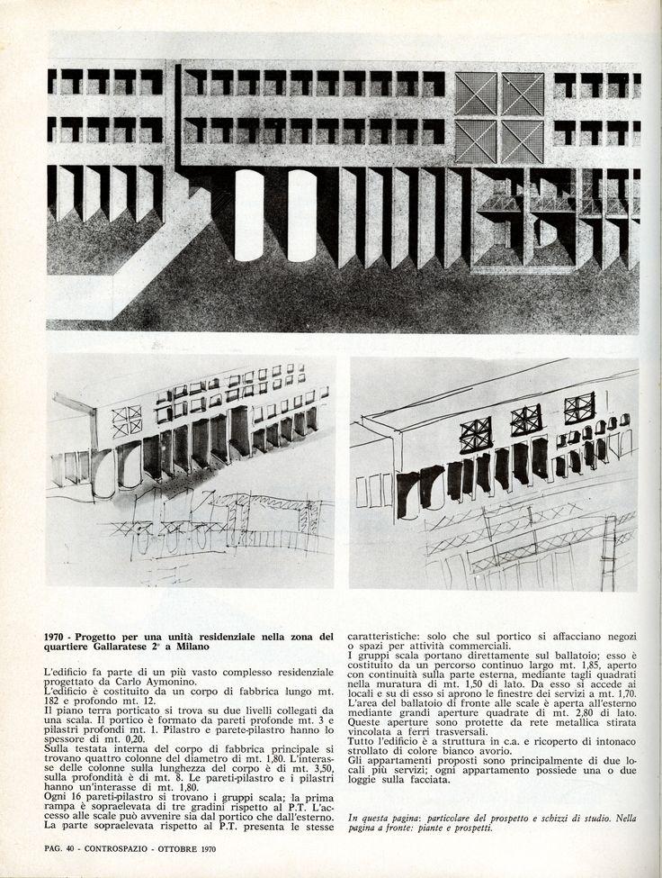 """Aldo Rossi, Gallaratese housing unit, Milano, 1969-70 (Architettura di Aldo Rossi 1964-1970, in """"Controspazio"""", Bari, Edizioni Dedalo, 1970, n. 10, p. 40)"""