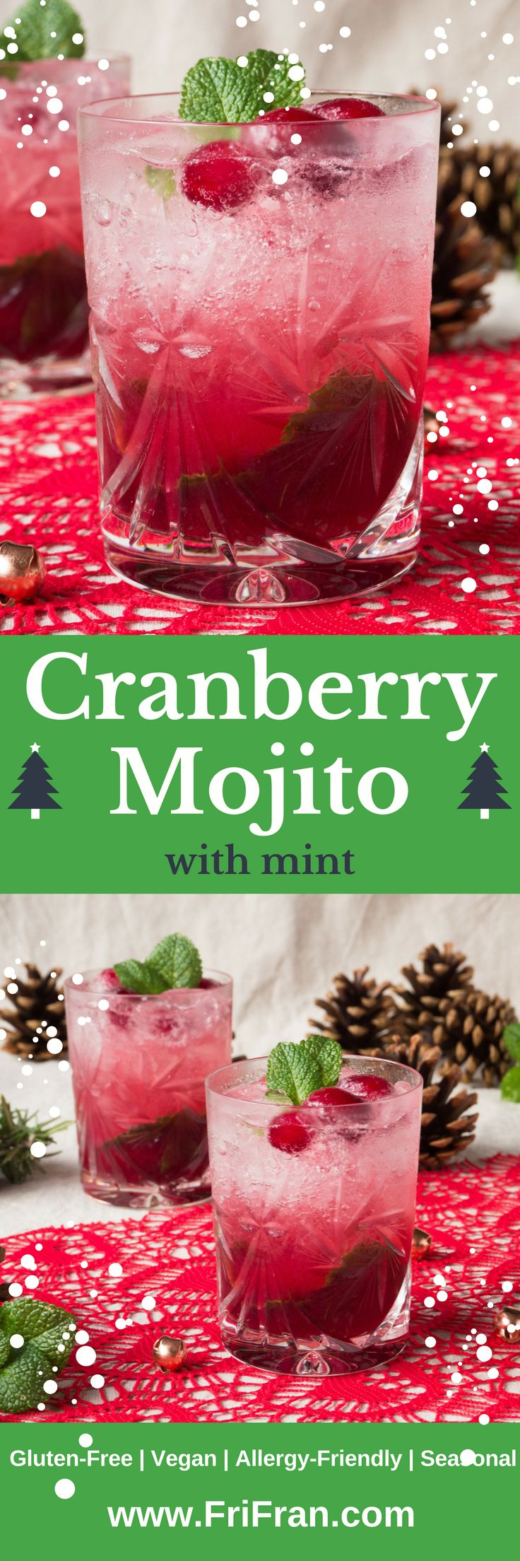 Cranberry Mojito is a fantastic gluten free, vegan cocktail to celebrate the festive season with. Make individual ones or a jug - more to share!  #GlutenFree #Vegan #AllergyFriendly #Seasonal #AlliumFree #CoconutFree... + celery free, coconut free, garlic free, lupin free, mustard free, nightshade free, onion free, peanut free, sesame free, soya free, tree nut free +