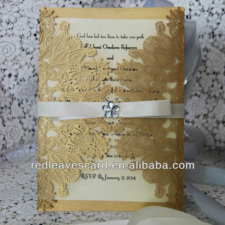 wedding renewal invitation ideas%0A Gold      Red Leaves Laser Cut Wedding Invitation Card