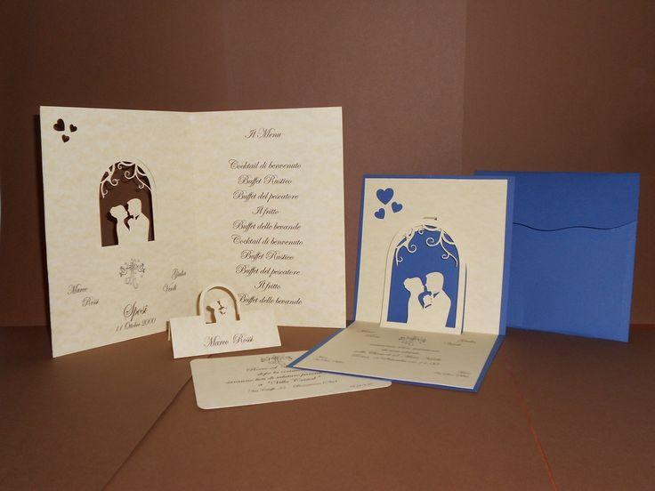 Partecipazioni matrimonio pop up, menu, segnaposto, invito e busta personalizzata