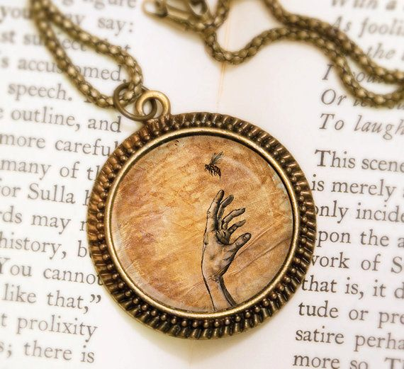 Bee Necklace  Bronze Pendant  Touch  Wearable Art by feverbloom, $32.00