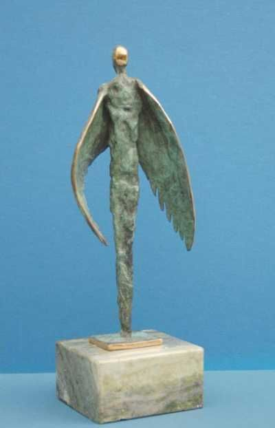 Bronze Human Form: Abstract sculpture by artist Padraic Reaney titled: 'Winged Figure'