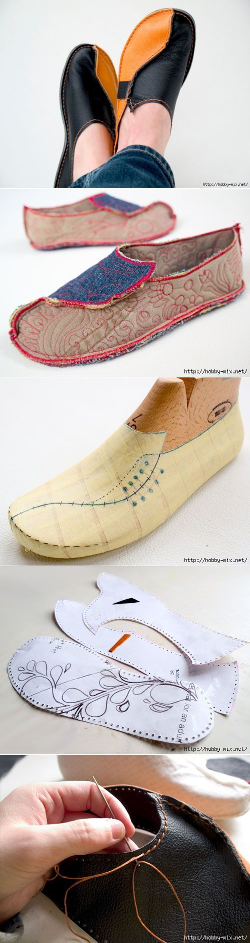 Cool homemade moccasins made of denim or leather. Video MC.