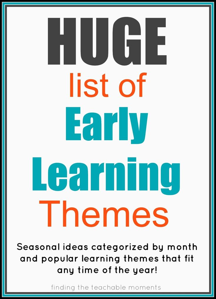 Finding the Teachable Moments: Early Learning Themes kinda weird ones that aren't as general.