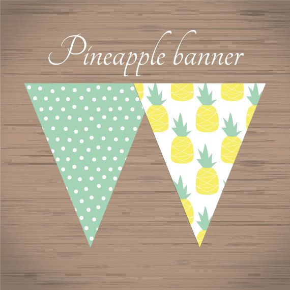printable pineapple pattern banner summer pineapple par pisforprint