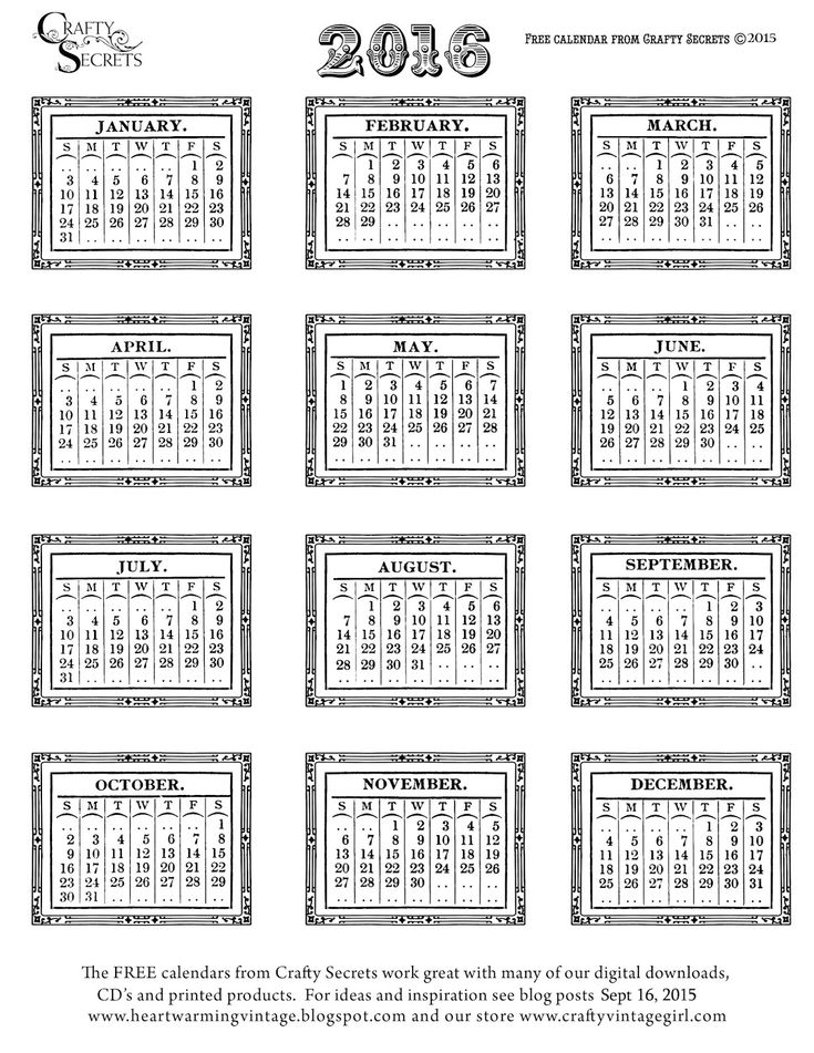 Get New White 2016 Vintage Calendar, Plus 3 Other 12 Month Calendars and Color Me Blank Art Calendar. See Inspiring Calendar Ideas and GET FULL SIZE FILES with link to Blog.