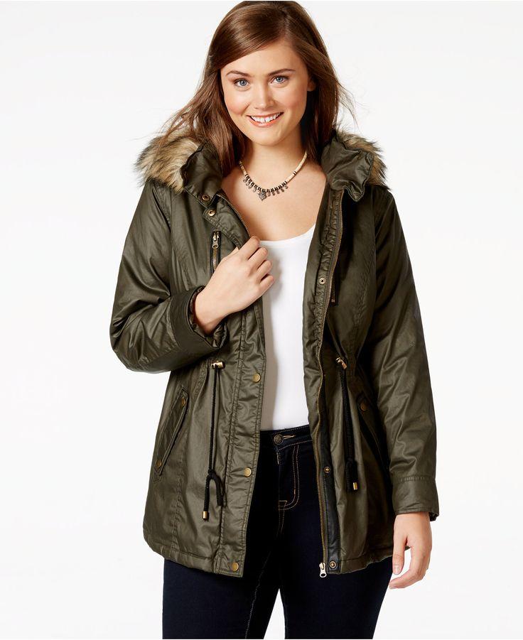 American Rag Plus Size Faux-Fur Hood Cinch-Waist Coat, Only at Macy's - Trendy Plus Sizes - Plus Sizes - Macy's