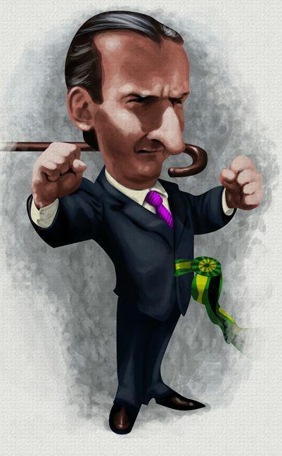 #Caricatura de Fernando #Collor, primeiro presidente eleito pelo voto direto após os 21 anos de ditadura, seu governo foi marcado por escândalos e corrupção, renunciou após um pedido de impeachment, governou o país de 15/03/1990-29/12/1992.