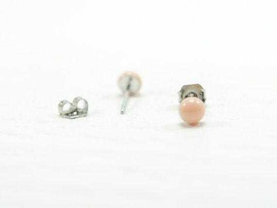 Peach Tiny Stud Earrings 4mm  Peach Stud  Peach Stud by biesge, $12.90