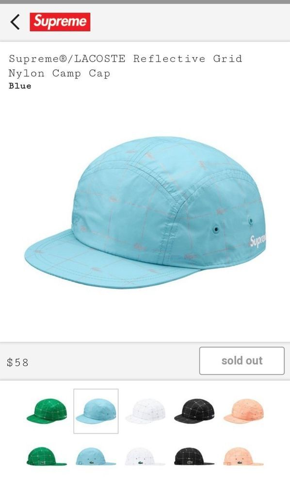 Supreme LACOSTE Reflective Grid Nylon Camp Cap Hat SS18 Authentic Blue   fashion  clothing  shoes  accessories  mensaccessories  hats (ebay link) 14a3337c0a1