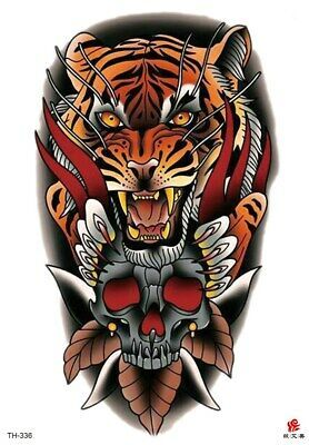 Details about US SELLER, Halloween tiger skull big 8.25″ tempoary tattoo face decor sexy