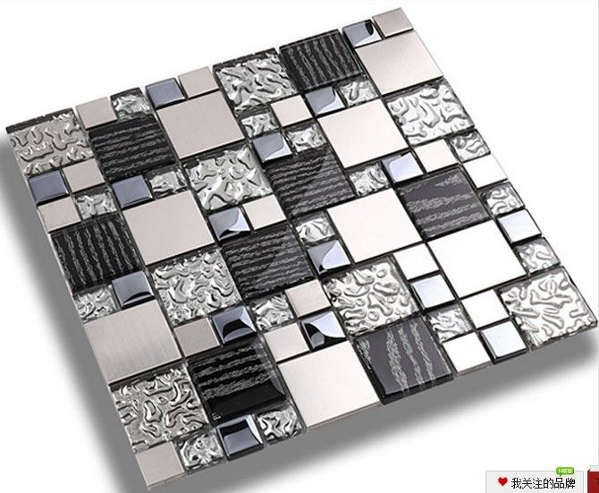 silver metal mosaic stainless steel tile kitchen backsplash wall tiles ssmt114 glass mosaic tile glass tiles - Mosaic Tiles