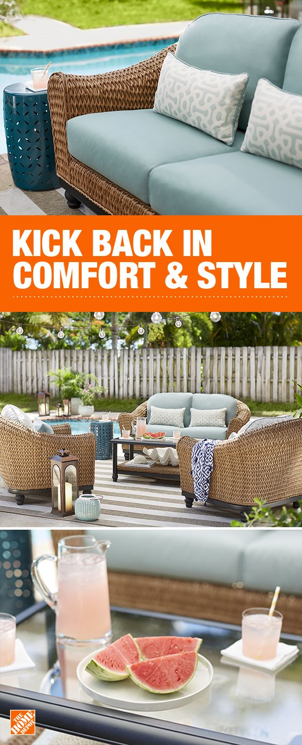 Create your own custom patio set. Mix-and-match pieces in the Camden Collection – dining sets, sofas, ottomans, lounges and more, and enjoy hours of relaxation. Get free delivery on thousands of patio items at The Home Depot.