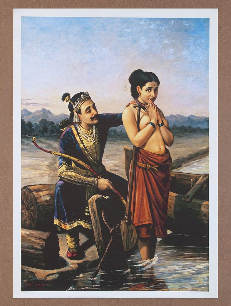 Buy Shantanu & Matsyagandha by Raja Ravi Varma Canvas Print Painting 30in x 21in Online at Jaypore.com