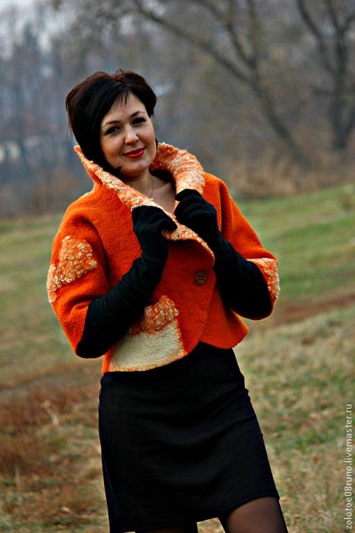 """Пиджаки, жакеты ручной работы. Ярмарка Мастеров - ручная работа. Купить Авторский жакет """"Sweet pumpkin"""". Коллекция """"Автоледи style"""".. Handmade."""
