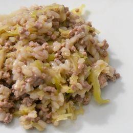 Riso con carne e verza : piatto unico che riscalda l'inverno #ricette #riso #risotto #verza #inverno http://www.plantantiga.com/ricette/vedi_ricette.asp?prod=211&rich=1&sottocate=19