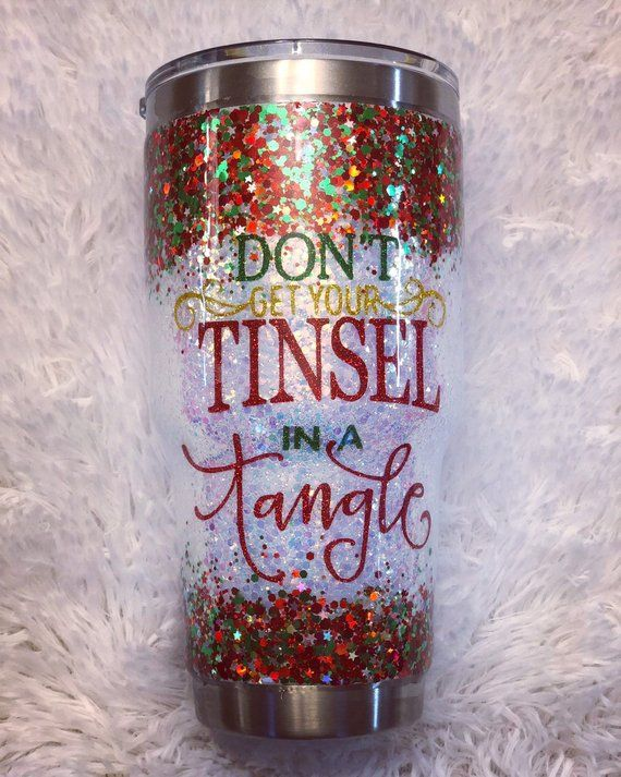 Don/'t get your tinsel in a tangle Glitter Wine Glass 14 oz Christmas