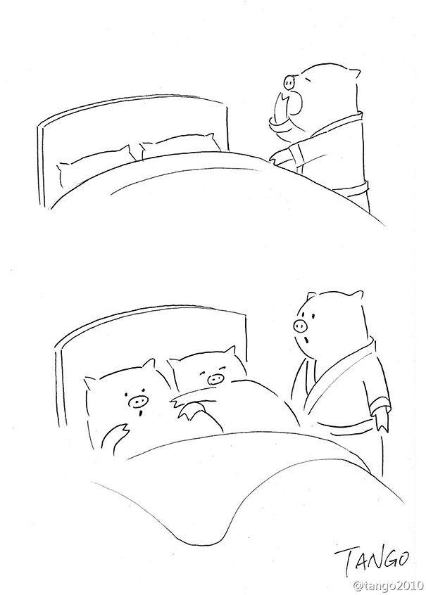 Os bichinhos de Tango. Shangai Tango é um ilustrador de cartuns, que publica o trabalho autoral em seu tumblr, e cria pequenas histórias com diversos animais em aventuras atípicas e encontros inusitados. Além de inserir os bichos nos desenhos, é comum vê-lo brincar com o formato dos animais. Confira algumas das tiras simples, ora bobas, (...)