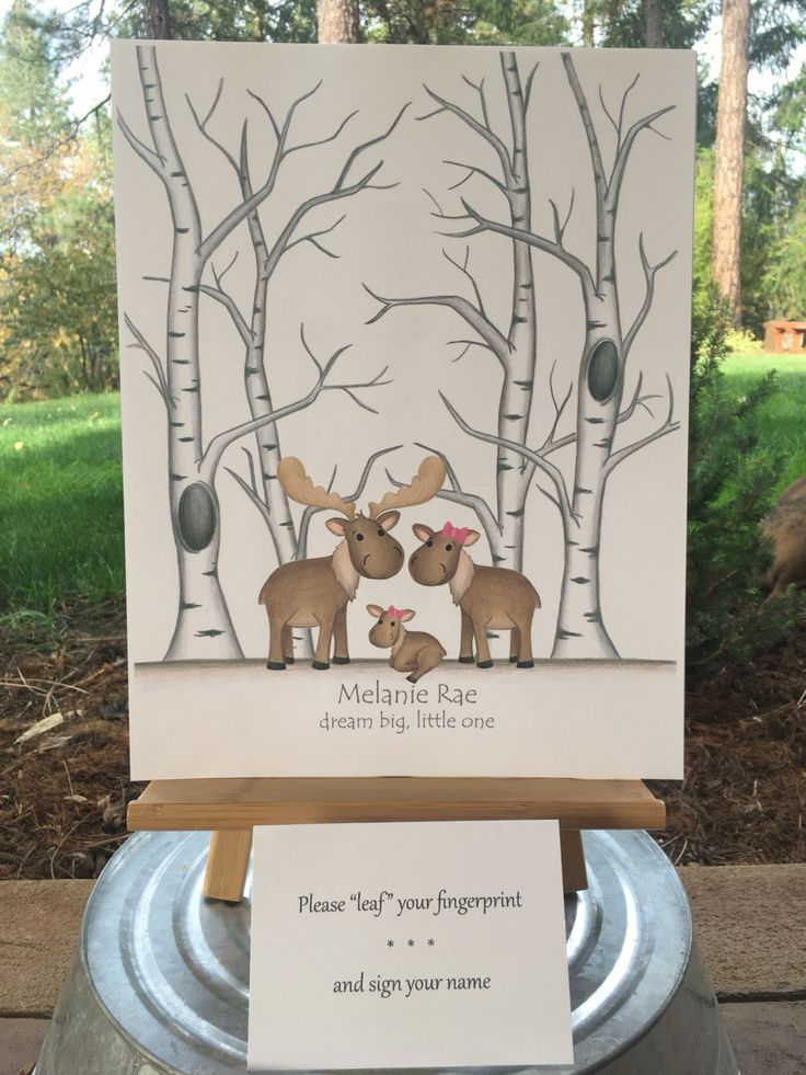 PRINTABLE! Customizable Thumb print tree guest book fearuring a moose family for a girl baby shower, moose woodland Fingerprint tree sign in - pinned by pin4etsy.com