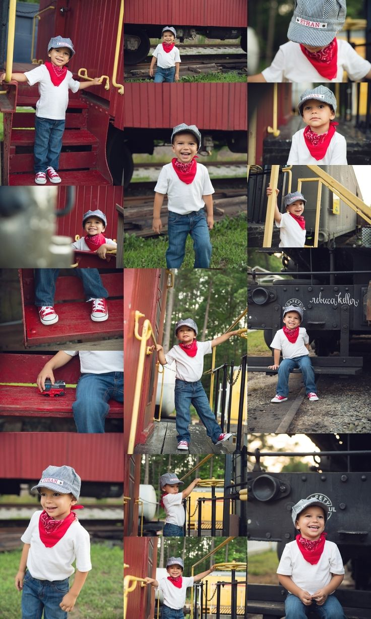 Third birthday train photoshoot. A little boy with his train - sooo cute! Raleigh Child photography. Rebecca Keller Photography