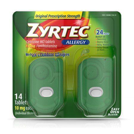 Zyrtec Prescription-Strength Allergy Medicine Tablets With Cetirizine, 14 Count, 10 mg, Multicolor