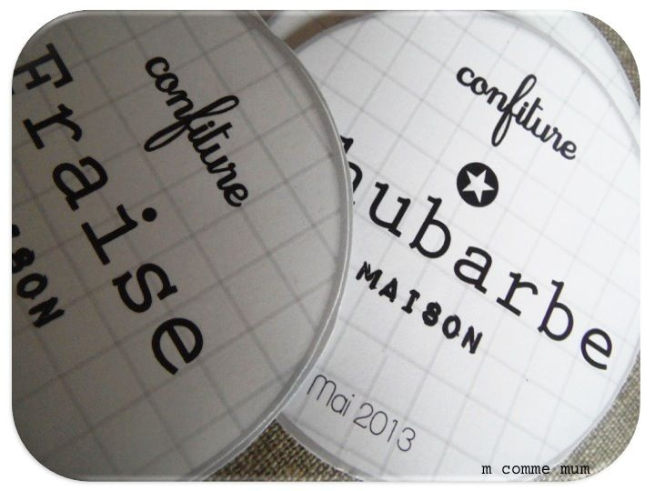 étiquette home made pour confiture (juste la photo pour l'idée)
