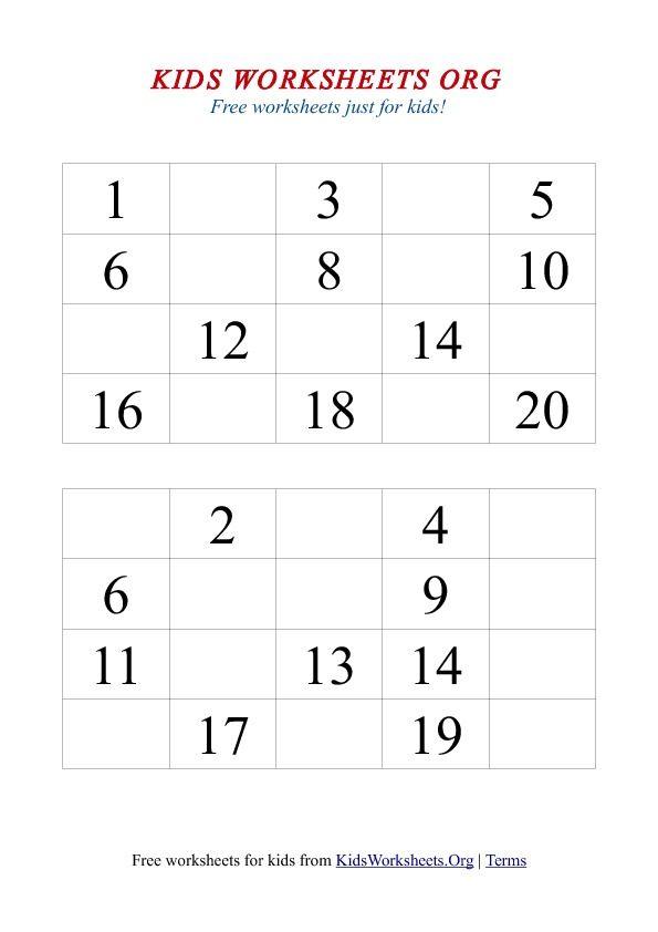 1-20 Missing Numbers Worksheet | Kids worksheets ...
