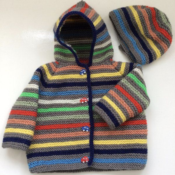 A lovely easyto wear hooded jacket in two sizes, from three months to a year. I love to have a jacket thats so versatile, it just pops on over whatever baby is wearing, and on the coolest days this one has a cosy hat to match.Perfect for either a baby boy or girl with all the beautifulPaintbox Yarns inDK