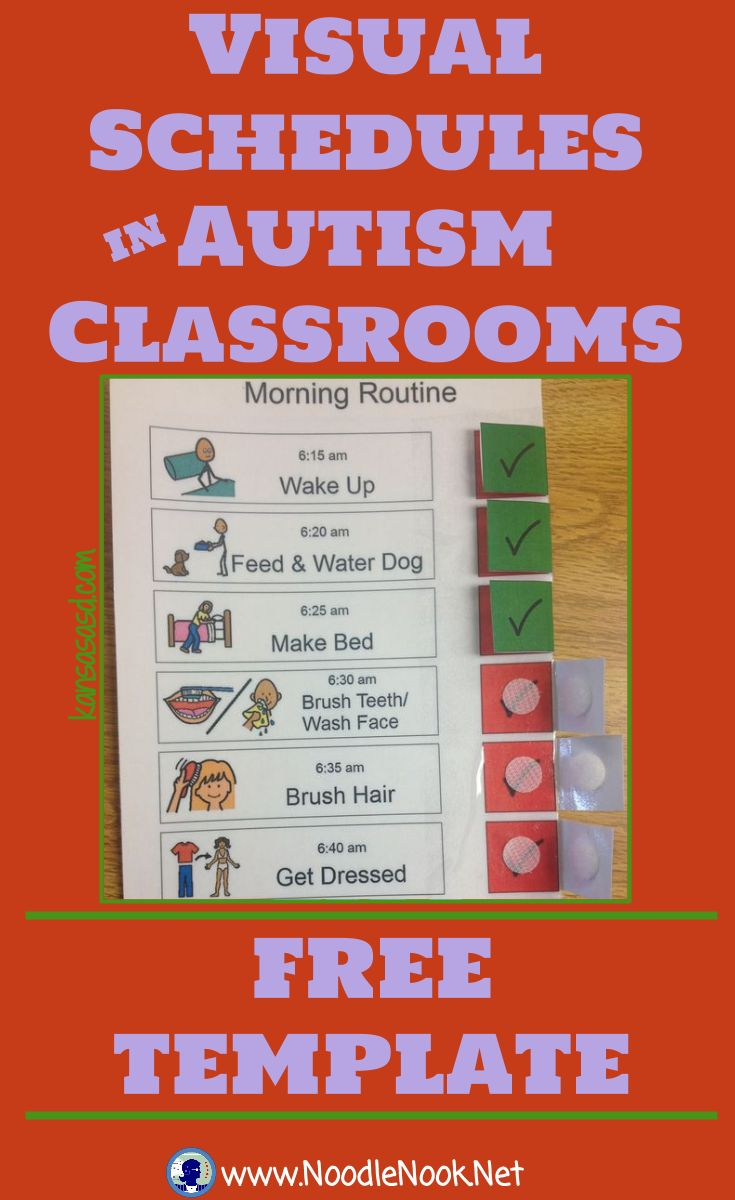 Visual Schedules for Autism Classrooms from NoodleNook- AWESOME Free Printable                                                                                                                                                                                 More
