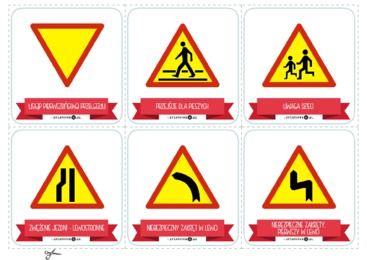 Karty ze znakami drogowymi- znaki ostrzegawcze - Printoteka.pl