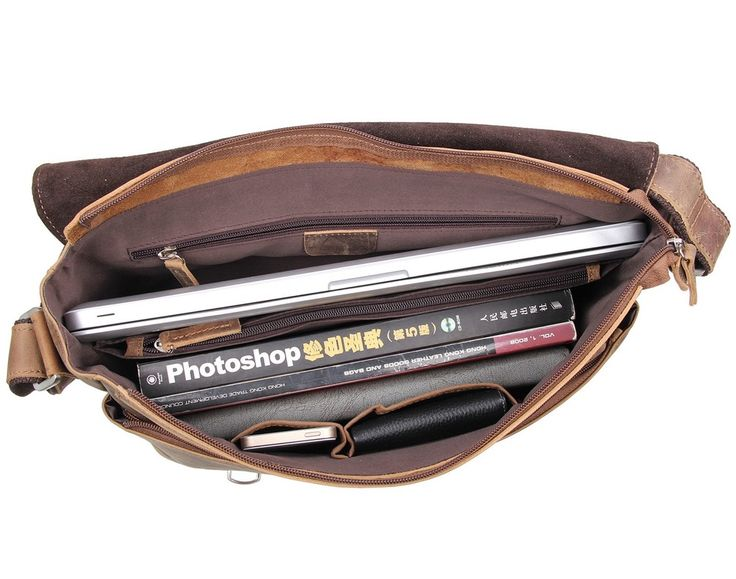 Image of Fathers' Day Gift Briefcase Messenger Shoulder Bag Distressed Crasy Horse Leather--FREE SHIPPING