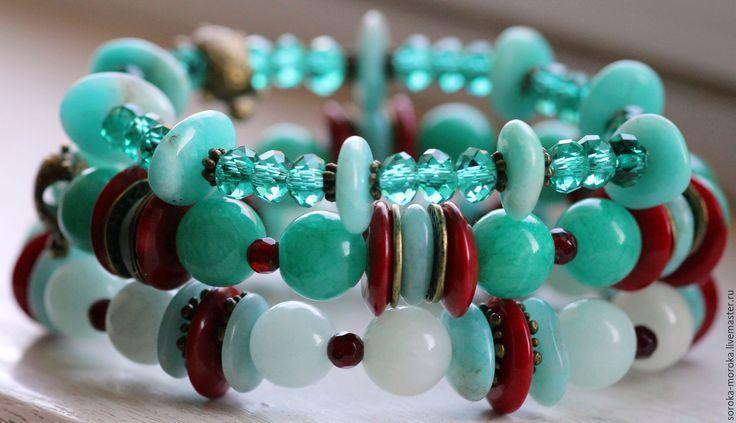 Купить Набор браслетов Морские Кораллы - мятный, красный, коралловый, морской, украшение со смыслом
