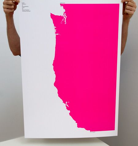 Coast Modern Poster by Build. It's a limited edition poster for the documentary film, Coast Modern. Sized at 33 1/8? x 23 7/16? and printed on 100lb Topkote stock in Pantone 806.