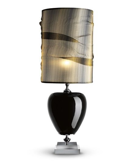 Claris: Table lamp in gloss black hand decorated majolica