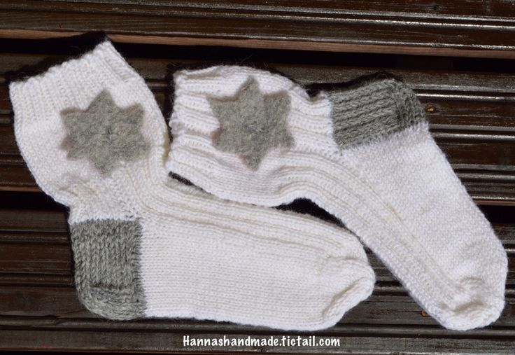 New #whiteandgrey #woolensocks with #felted #star #handmade #madeinfinland