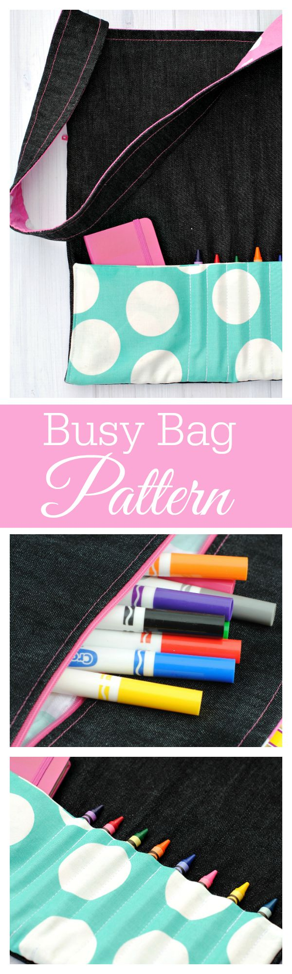 This cute Busy Bag Tutorial holds crayons, toys, coloring books and anything else little one needs.