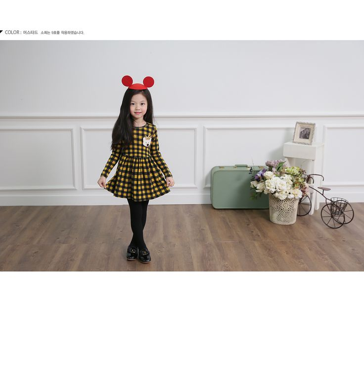 Korea children's No.1 Shopping Mall. EASY & LOVELY STYLE [COOKIE HOUSE] Meow check mini dress / Size : 5-13 / Price : 25.19 USD #cute #koreakids #kids #kidsfashion #adorable #COOKIEHOUSE #OOTD #check #dress