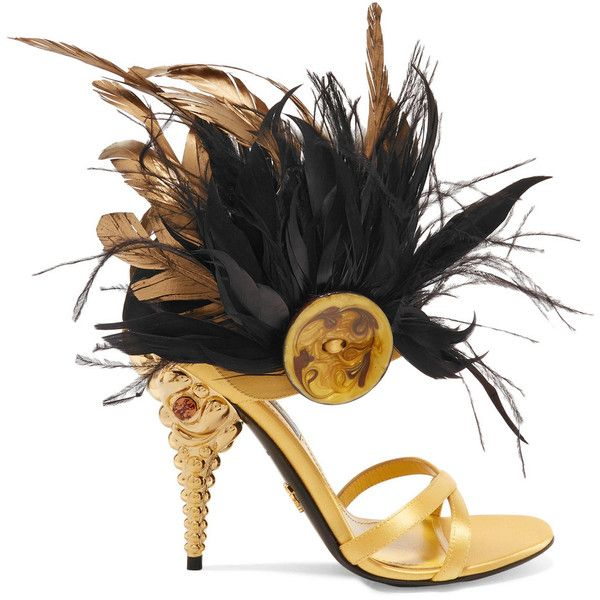 Prada Feather-trimmed crystal-embellished satin sandals ($990) ❤ liked on Polyvore featuring shoes, sandals, prada shoes, satin shoes, criss cross strap sandals, mirror shoes and black gold sandals