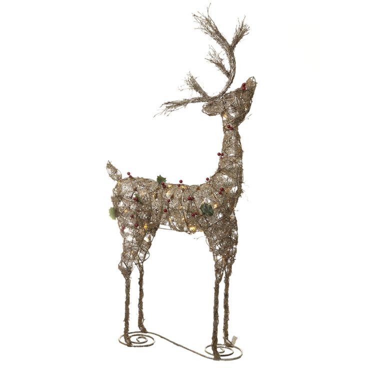 Heaven Sends Rattan Standing Reindeer Light, Natural