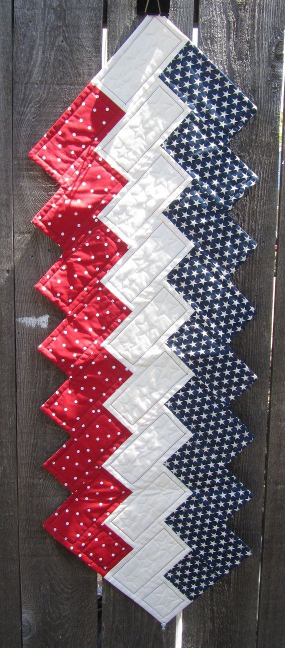 Table Runner by Beckeroo Red White & Blue Braid by NesikaDesigns
