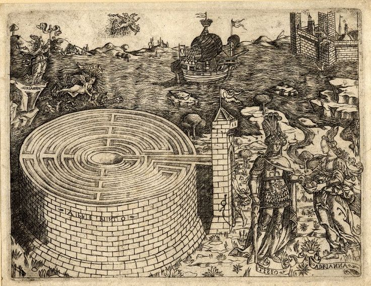 The Cretan labyrinth with the story of Theseus and Ariadne, c.1460-70.