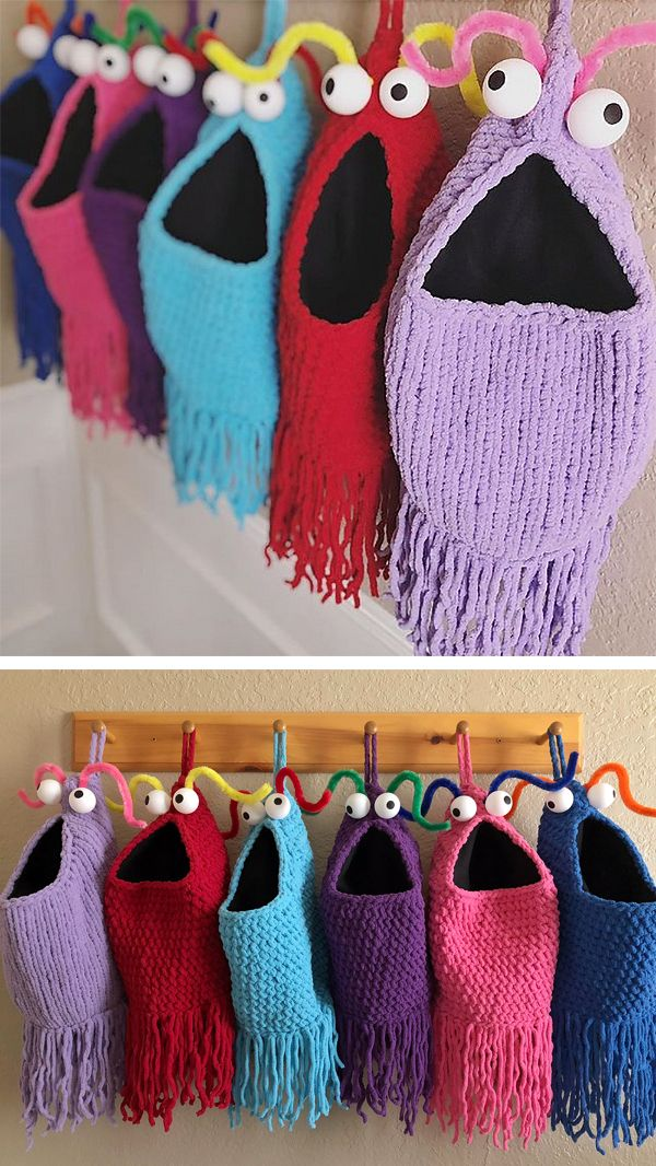 Free Knitting Pattern for Yip Yips Hanging Baskets – Soft hanging storage monsters great for toy storage, kids' laundry, holiday stockings, and more! Embellished with pingpong ball eyes and pipe cleaner antennae. Size: 25″ around by 14″ tall. Designed by Carissa Browning. There's also a crochet version. Super Bulky weight yarn.
