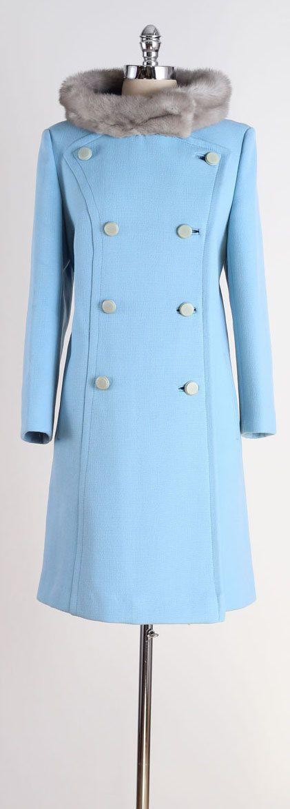 vintage 1960s coat . light blue wool . mink by millstreetvintage
