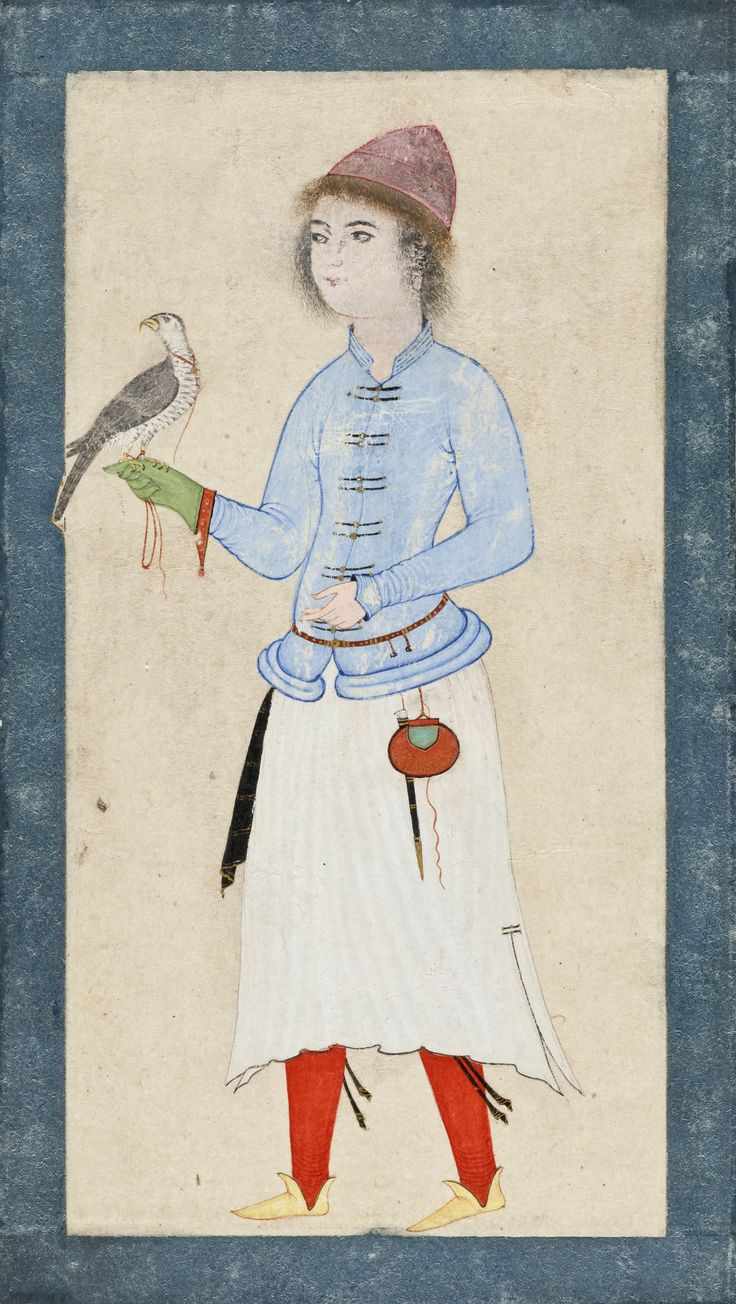 Portrait of a Falconer Holding a Hawk on Gloved Right Hand Turkey, late 16th century