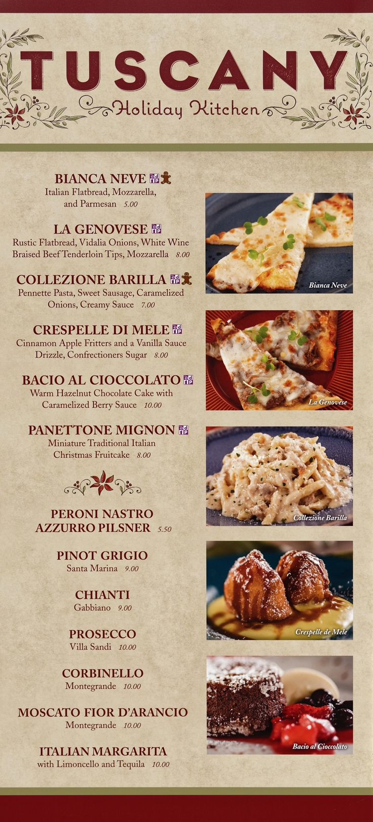 The 2019 Tuscany (Italy Pavilion) menu board with prices