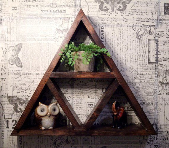 Rustic Triangle Shelf // Bathroom // Bedroom // Living Room // Zelda Triforce // Decor // Wall Art /