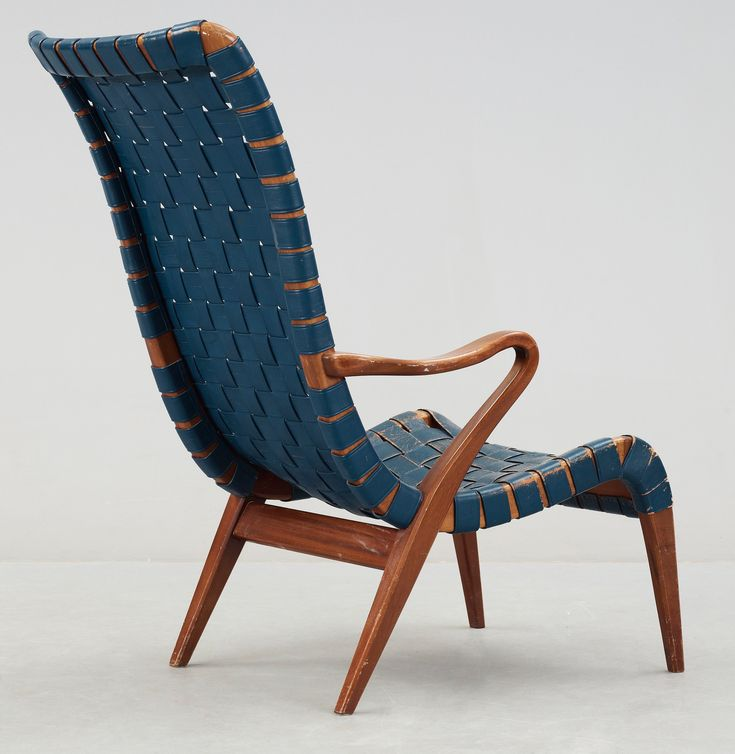 Axel Larsson Mahogany And Leather Armchair For Bodafors