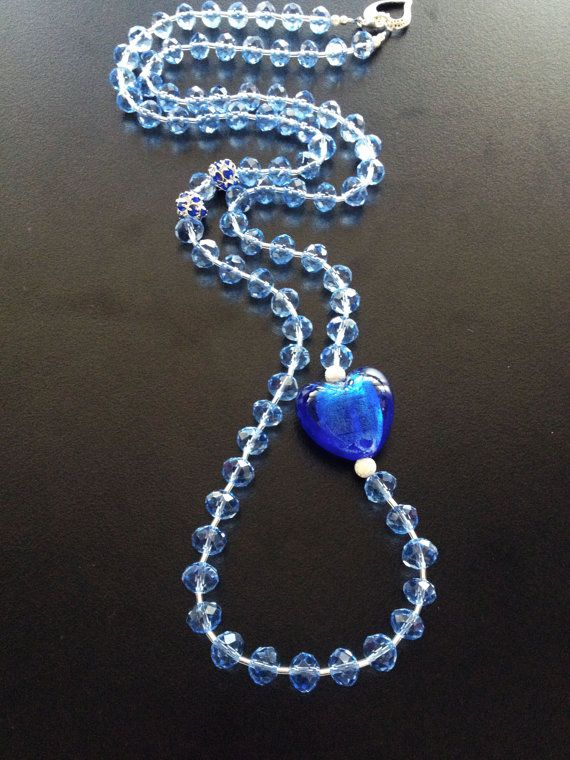 Crystal Handmade Necklace with blue Heart foil glass by BYTWINS, €38.00